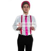 Комплект с галстуком ярко-розовый