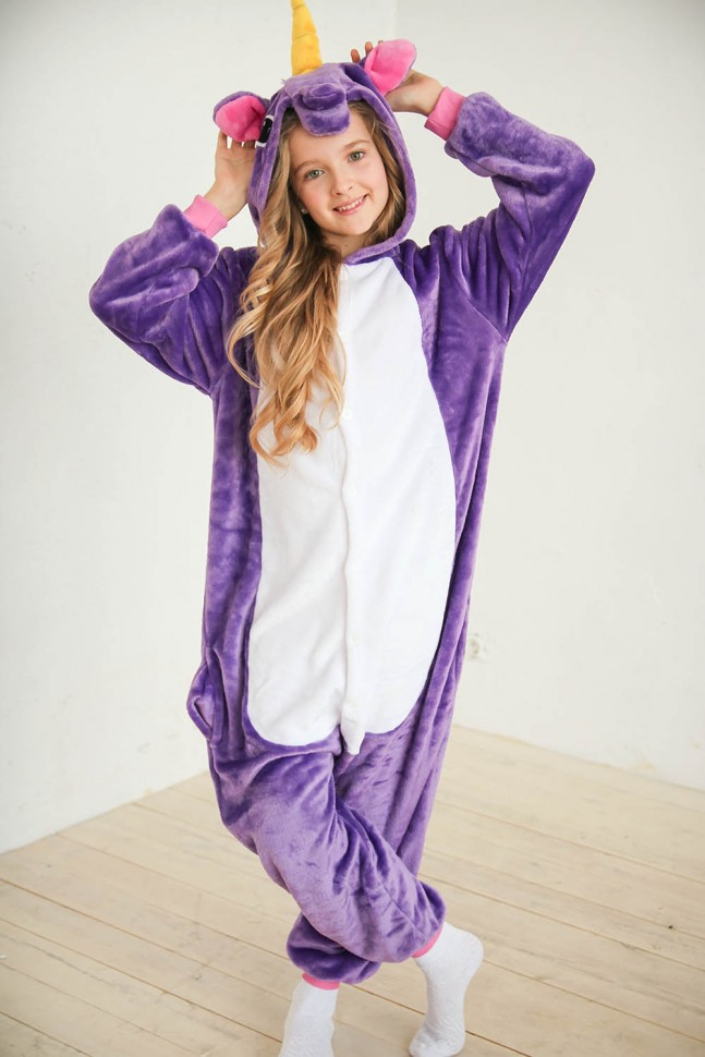 Купить Пижама кигуруми фиолетовый единорог детский (90-105 см) по ... 7bf0d47cb0811