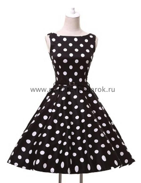 65193aec6e8 Ретро платье чёрное с поясом и белым горохом купить за 3 000 руб.