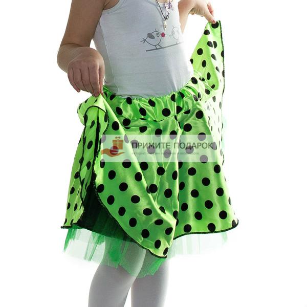 fd59547bb133 Детская юбка в черный горох салатовая