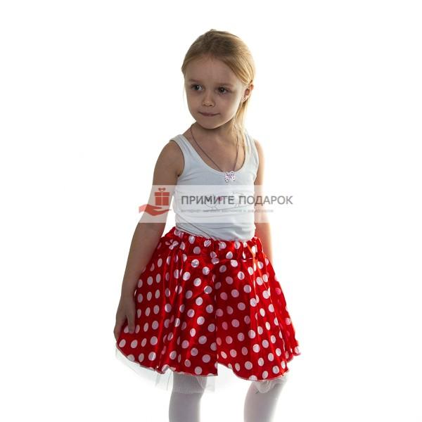 b31c00e24ef1 Детская юбка в белый горох красная