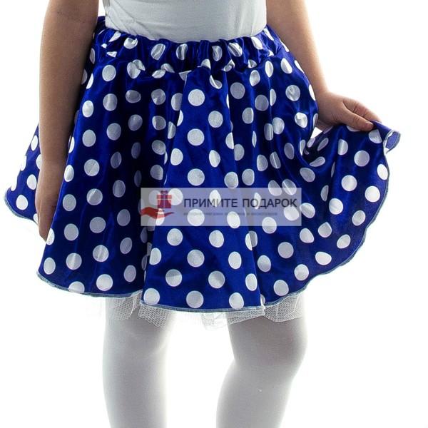 e40859b73980 Детская юбка в белый горох синяя