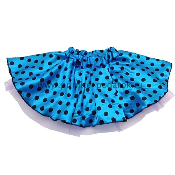 1f119b122153 Детская юбка в черный горох голубая