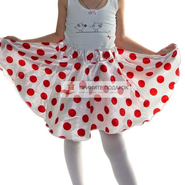 03768c8399ad Детская юбка в красный горох белая