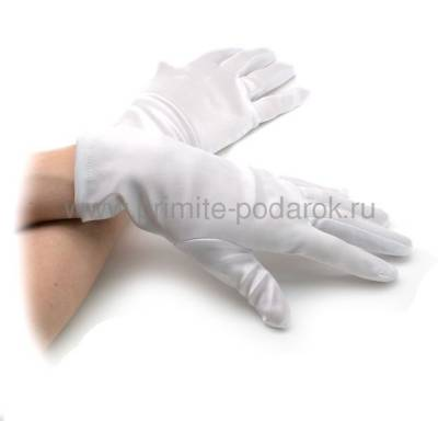 80fa5de1e34 Перчатки короткие белые атласные