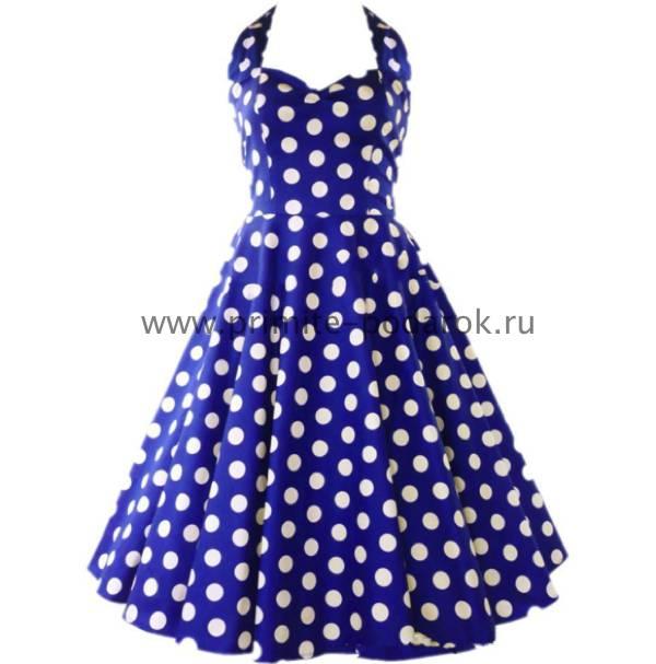 bf89c9835a3 Платье синее в белый горох купить за 3 000 руб.