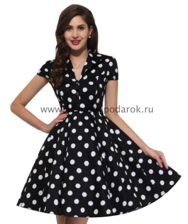 822c45df15b Платье ретро чёрное в белый горох купить за 4 500 руб.