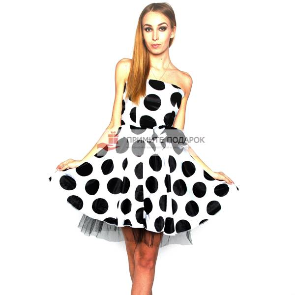 5f6f8be4dd0 Платье белое в крупный горох с бантом Платье белое в крупный горох с бантом